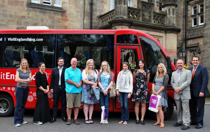 Familiarisation trip in front of the Visit England bus