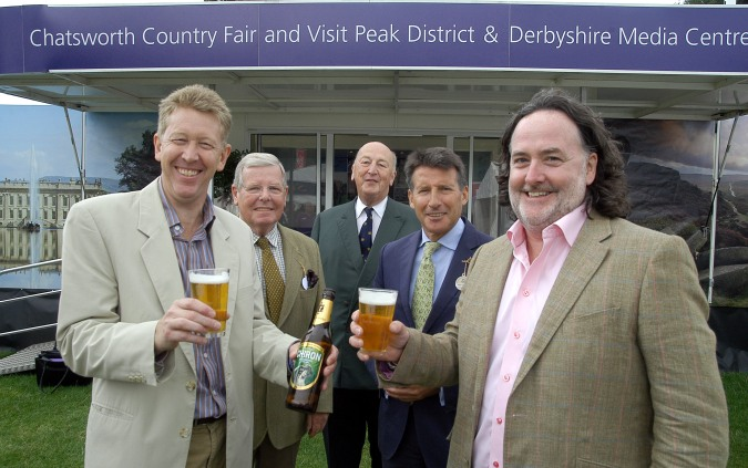 Left to right: David James Chief Executive of Visit Peak District & Derbyshire, Visit Peak District & Derbyshire Patron David Hardman of Elysian Hospitality, Visit Peak District's founder Patron, The Duke of Devonshire, President of Chatsworth Country Fair, Lord Sebastian Coe and Jim Harrison, owner of Thornbridge Brewery.