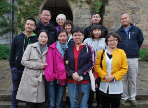 group of chinese journalists outside haddon hall