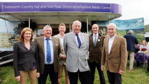 David James, Chief Executive of Visit Peak District & Derbyshire (back row left) gives a warm welcome to Chris Sellors, Managing Director of CW Sellors Fine Jewellers (front row second from left), his wife Diane (left) and Colin MacQueen, Managing Director of Peak Cottages, representing the tourist board's latest Patrons.  Also pictured are the tourist boards founder patron, The Duke of Devonshire (centre) and Visit Peak District & Derbyshire Interim Chairman and fellow Patron Paul Roden of Losehill House Hotel and Spa.
