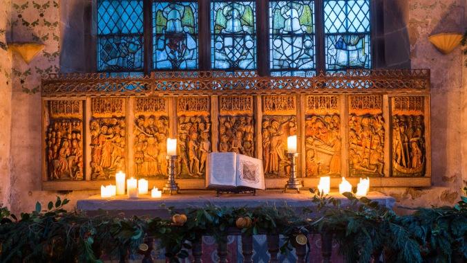 Haddon Hall Chapel at Christmas.