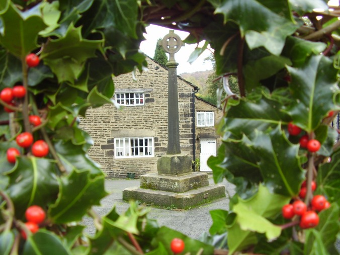 Old Cross in Holly Wreath