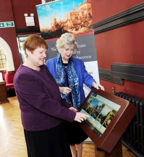 Councillors Gill Burton and Sybil Ralphs check out the new touchscreen in the Nicholson Museum and Art Gallery.