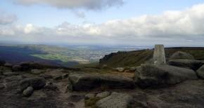 Bleaklow trig point. Higher Shelf Stones. Peak Walking Adventures