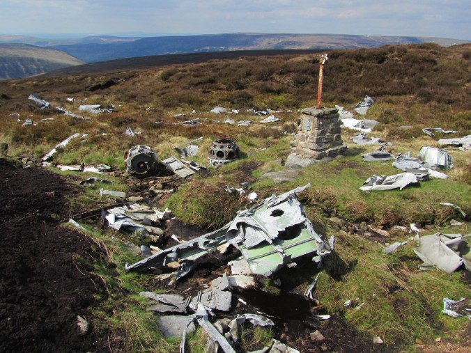 Blenheim L1476 crash site, Bleaklow. Peak Walking Adventures